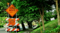 Road on reconstruction. Signes and marks. video