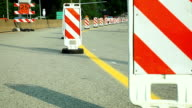 Road on reconstruction Signes and marks. video