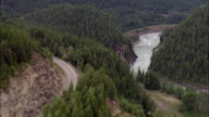 Road Rail And River  - Aerial View - Montana, Flathead County, United States video