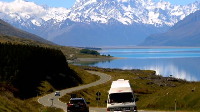Road to Aoraki Mount Cook and Lake Pukaki, New Zealand video
