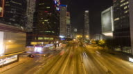 Road to central business district time lapse video
