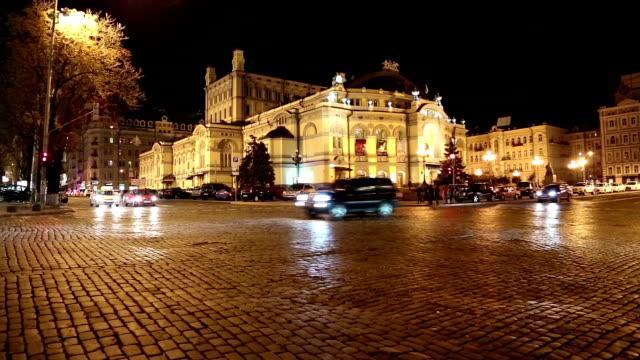 Road traffic near opera house in Kiev video