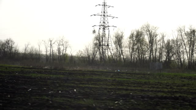 road view of green fields and trees video