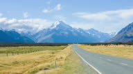 Roads with beautiful Scenics and overlooking Mt. Cook ,New Zealand video