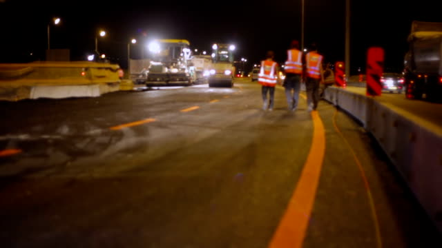 Roadworks - workers on highway video
