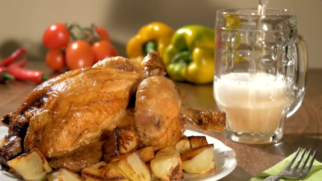 roast chicken and pouring beer video