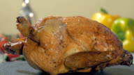 roast chicken on stone plate rotating video