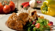roast chicken with baked potatoes and salad video