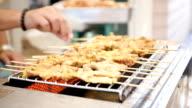 Roast Pork Satay on oven, Thai food in Thailand video