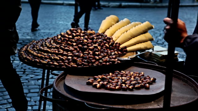 Roasted Chestnuts at winter in the Street of Rome video
