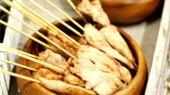 roasted chicken on a wooden stick video