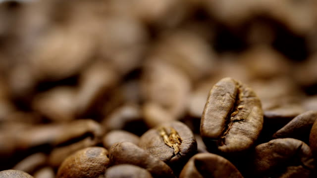 Roasted coffee beans. Close-up shot. video