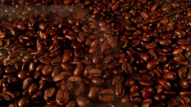 Roasted coffee with a smoke. video