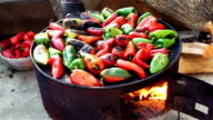 Roasted red and green peppers video