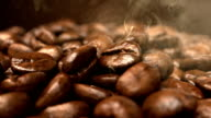 Roasting coffee beans smoke rising video
