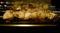Roasting shish kebabs on the grill. video