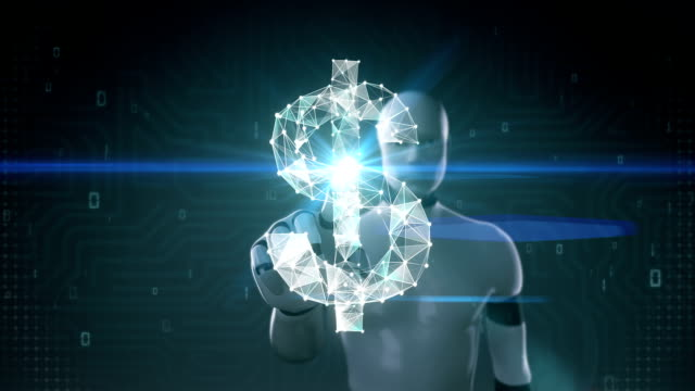 Robot, cyborg touched screen, Numerous dots gather to create a Dollar currency sign. video