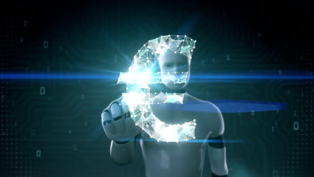 Robot, cyborg touched screen, Numerous dots gather to create a Euro currency sign. video