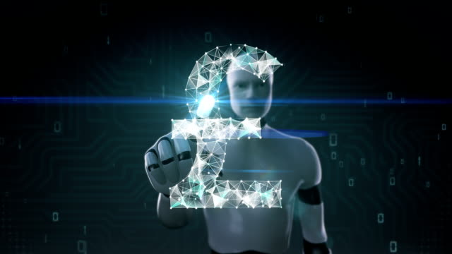 Robot, cyborg touched screen, Numerous dots gather to create a Pound currency sign. video