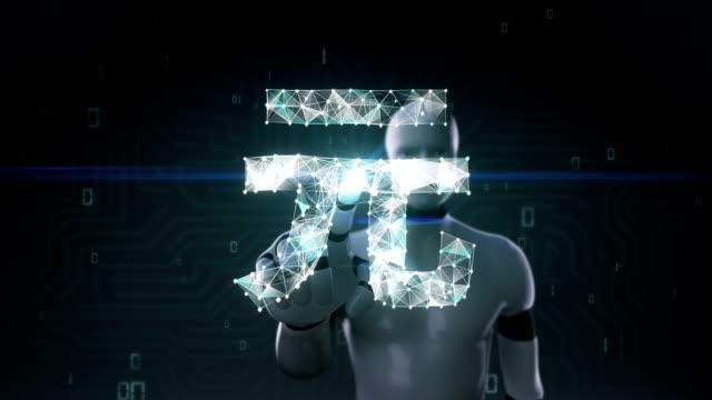 Robot, cyborg touched screen, Numerous dots gather to create a Yuan currency sign. video