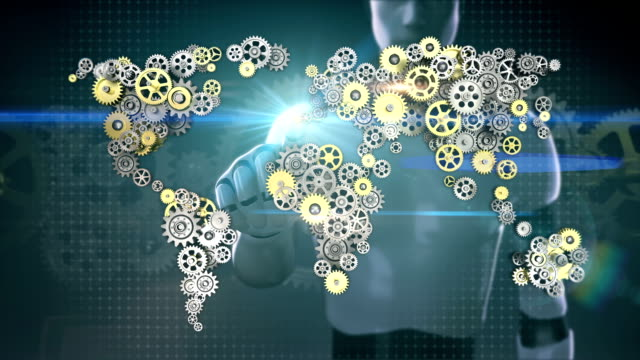 Robot, cyborg touched screen, Steel golden gears making global world map. artificial intelligence. global technology.1. video