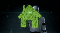 Robot cyborg touching eco green house made from leaves.leafs. video