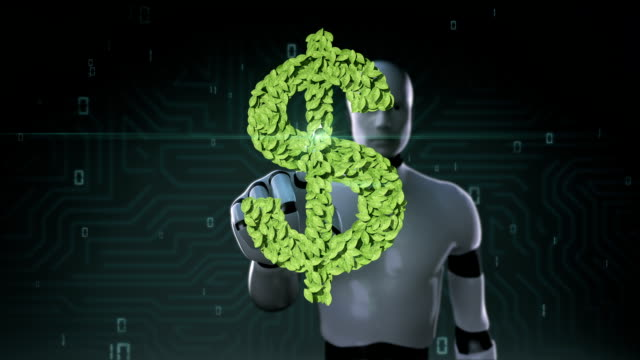 Robot cyborg touching green leaf Dollar sign, made from leaves. video