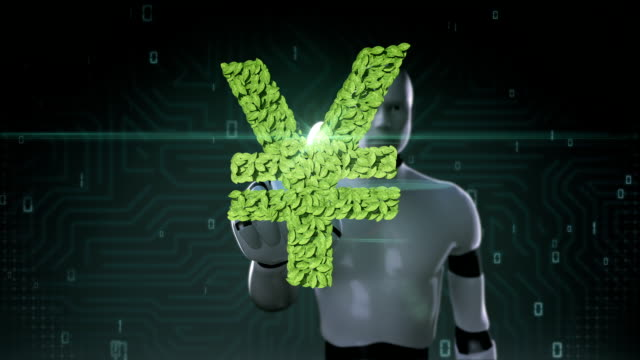 Robot cyborg touching green leaf Yen sign, made from leaves. video
