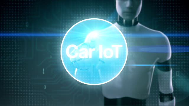 Robot, cyborg touching screen, Car internet of things technology icon connect global world map, dots makes world map. internet of things. video