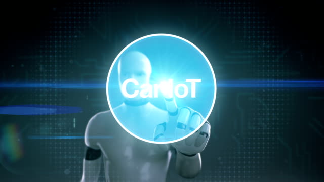 Robot, cyborg touching screen, Car internet of things technology icon connect global world map, dots makes world map. internet of things.3. video