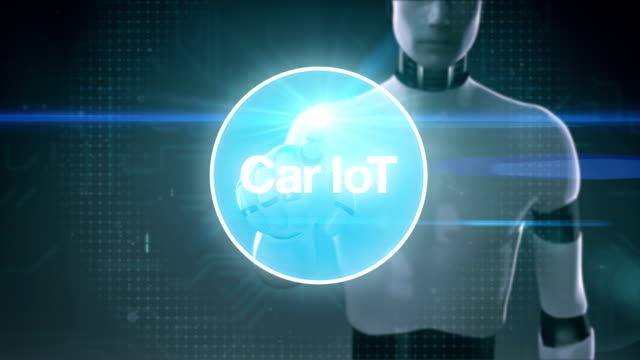Robot, cyborg touching screen, Car internet of things technology icon connect global world map, dots makes world map. internet of things.2. video