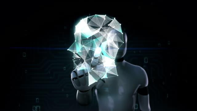 Robot, cyborg touching screen, Digital lines create brain head shape, digital concept. intelligence technology. video
