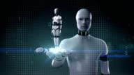 Robot open palm, 3D robot body.Artificial intelligence.robot technology. video