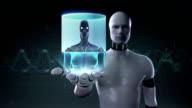Robot open palm, body scanning Human eyes system, X-ray light. video