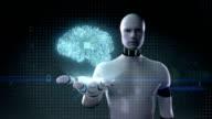 Robot open palm, Brain shape of head connect digital lines. video