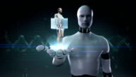 Robot open palm, cardiovascular system, skeletal structure, bone system. video