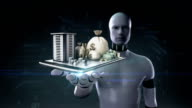 Robot open palm, Construction building, online finance on mobile. video