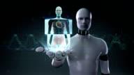 Robot open palm, Female scanning heart. Human cardiovascular system. video