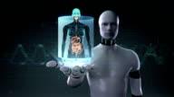 Robot open palm, Human body scanning internal organs, Digestion system. video