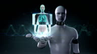 Robot open palm, Human lungs, Pulmonary Diagnostics. Blue X-ray light. video