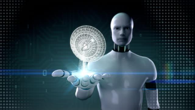 Robot open palm, making antenna tower, radar, grow global communication. video