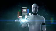 Robot open palm, video game contents download internet service function. video