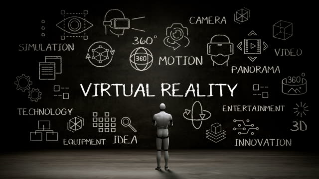 Robot standing wall, Handwriting concept of 'Virtual Reality' at chalkboard. video