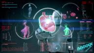 Robot touching digital screen, humanoid, Scanning Brain in digital display. video