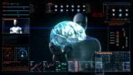Robot touching digital screen, humanoid, Scanning Brain in digital display dashboard. X-ray view video