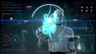 Robot touching digital screen.  internal organs, Digestion system in digital display. video