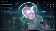 Robot touching digital screen, scanning heart. Human cardiovascular system. video