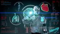 Robot touching screen, brain, heart, lungs, organs in digital display video
