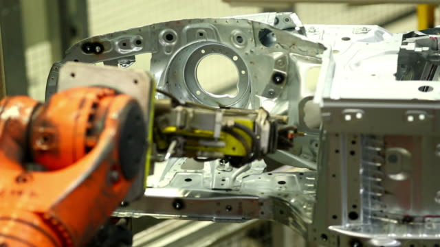 Robot Welding On Car Body Close-up video