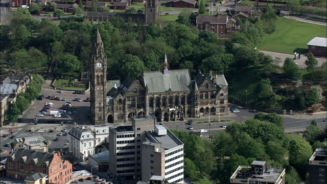 Rochdale Town Hall - Aerial View - England,  Rochdale,  helicopter filming,  aerial video,  cineflex,  establishing shot,  United Kingdom video